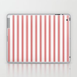 Mattress Ticking Wide Striped Pattern in Red and White Laptop & iPad Skin