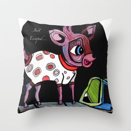 Bambi has just escaped... Throw Pillow