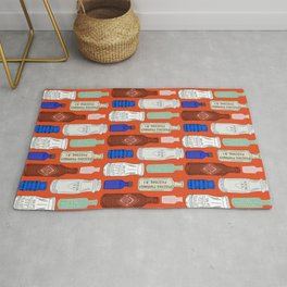Vintage Bottle Collection Illustrated Repeat Pattern Print Rug