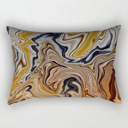 GYRE golden swirls navy accent marble like design Rectangular Pillow