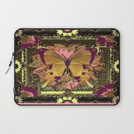 Western Style Swallow Tail Butterfly in pinks and Greenish Black Designs Laptop Sleeve