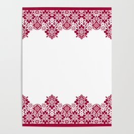 Retro .Vintage . Red lace on a white background . Poster