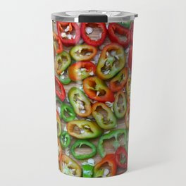 Sliced red and green chili peppers Travel Mug