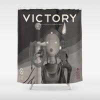 propaganda Shower Curtains featuring Propaganda Series 9 by Alex.Raveland...robot.design.digital.art