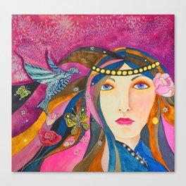 Bluebird by Karen Knight Veal Canvas Print