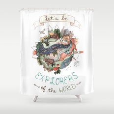 Let's Be Explorers  Shower Curtain
