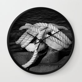 Mooring Rope tied to the dock Wall Clock