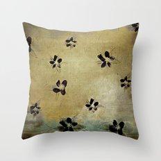 posies on vintage linen Throw Pillow