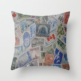 Canadian Pride Vintage Postage Stamp Collection From Canada Throw Pillow