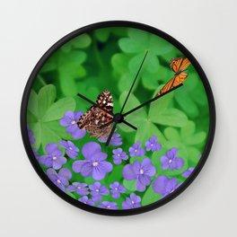 Butterfies, Violets & clover Wall Clock