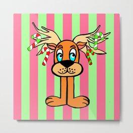 Spud the Christmas Reindeer with Green Pink Stripes Metal Print
