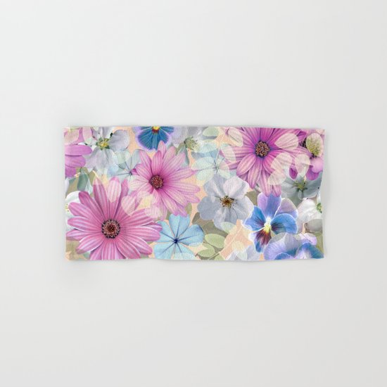 Pink and blue floral pattern Hand & Bath Towel