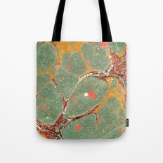 Marbled Green Orange 2 Tote Bag