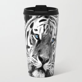 Black and white fractal tiger Travel Mug