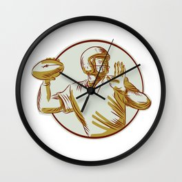American Football QB Throwing Circle Side Etching Wall Clock
