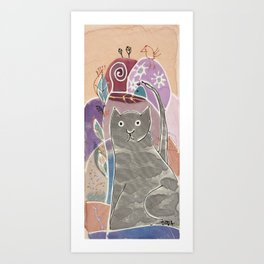Abstract painting on silk with grey cat and bird. Original hand painted Art Print