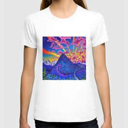 psychedelic colorful lines nature mountain trees snowy peak moon sun rays hill road artwork star sky T-shirt