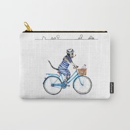 Cat on a Blue Bicycle Carry-All Pouch