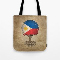 philippines Tote Bags featuring Vintage Tree of Life with Flag of Philippines by Jeff Bartels