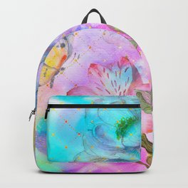 floral alcohol ink painting Backpack