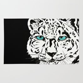 Snow Leopard in Winter Rug