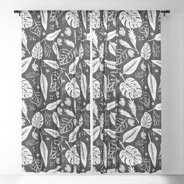 Autumn leaves pattern black Sheer Curtain