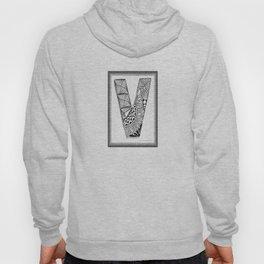 Zentangle V Monogram Alphabet Initial Hoody
