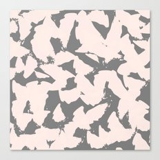 Pastel Pink Bird Wings on Grey Canvas Print