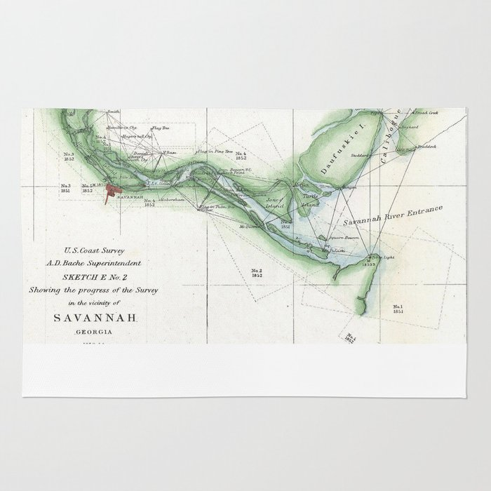 Vintage Map Of The Savannah River 1854 Rug By Bravuramedia Society6