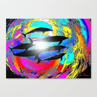 dolphins Canvas Prints featuring Dolphins by JT Digital Art