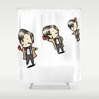 fez Shower Curtains featuring Kawaii Eleventh Doctors by toomuchpaint