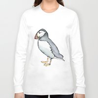 puffin Long Sleeve T-shirts featuring puffin 3 by Beth Gilmore