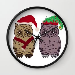 Santa Owl and Elf Owl Wall Clock