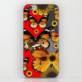 RED & GREY BROWN BUTTERFLIES ART iPhone Skin