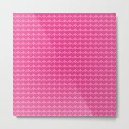 Pink Hearts Pattern Metal Print