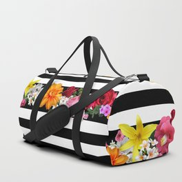 flowers on black and white stripes Duffle Bag
