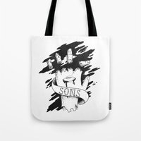 sons of anarchy Tote Bags featuring Sons of Anarchy - Hand by Christiano Mere