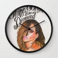 rihanna Wall Clocks featuring Rihanna by hippiedreamer