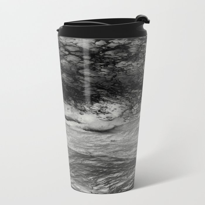 Black Tempest - Abtract Ocean Sea Pattern in Black And White Metal Travel Mug