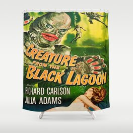 Creature from the Black Lagoon, vintage horror movie poster Shower Curtain
