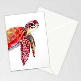 Baby Turtle decor, nursery art decor children room orange red Stationery Cards
