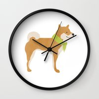 shiba Wall Clocks featuring Shiba With A Scarf by Hello Hoku
