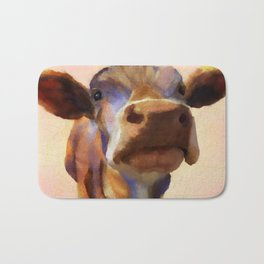Cora the cow, cow art, cow, farm, animal Bath Mat