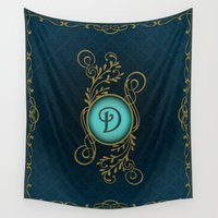 monogram Wall Tapestries featuring Monogram D by Britta Glodde