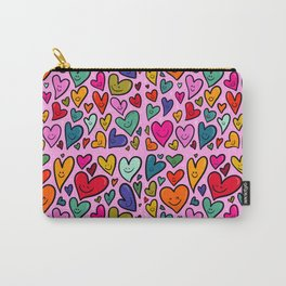 Smiling Heart Print Carry-All Pouch