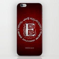 Joshua 24:15 - (Silver on Red) Monogram E iPhone & iPod Skin