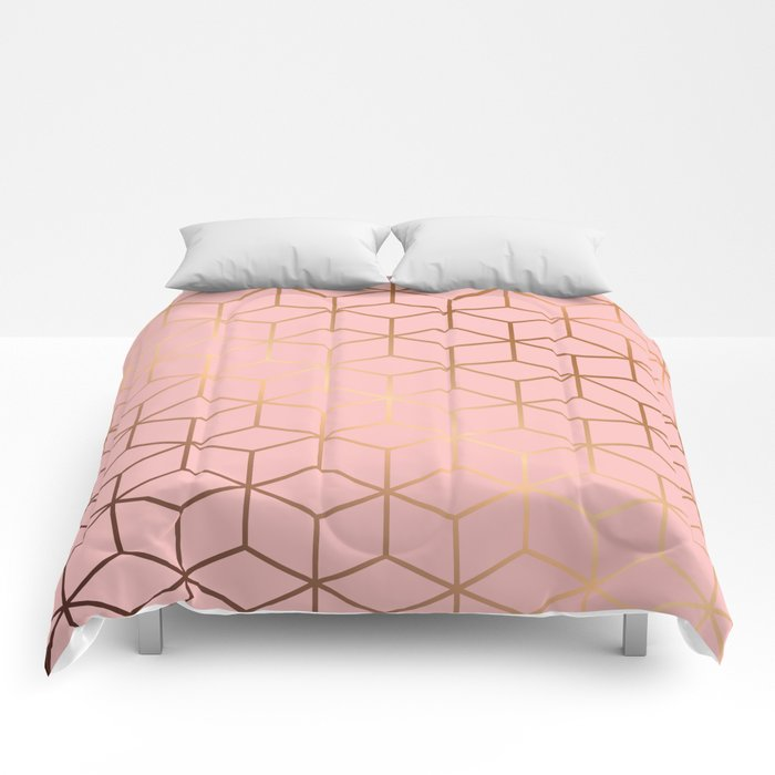 Pink and Gold Geometry 011 Comforters