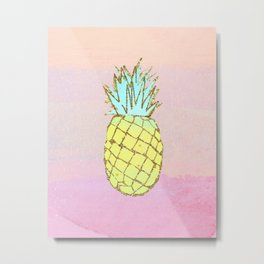 Pineapple Watercolor Tropical Beach Pink Peach Metal Print