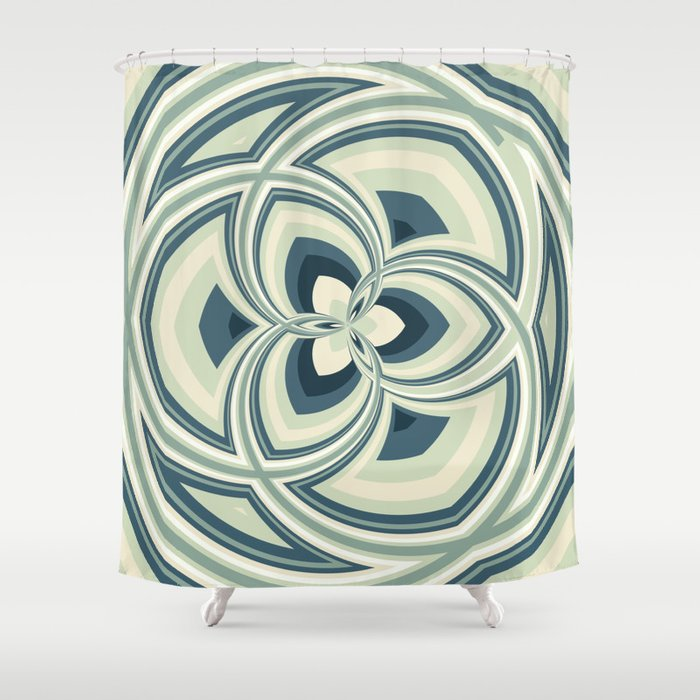 Spiral Rose Pattern E 1/4 Shower Curtain