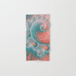 Abstract Coral Reef Living Coral Pastel Teal Blue Texture Spiral Swirl Pattern Fractal Fine Art Hand & Bath Towel